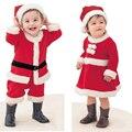 Nuevo mameluco del bebé recién nacido niños niñas fleece lining bebe mameluco + sombrero de navidad santa claus traje infantil ropa del año nuevo