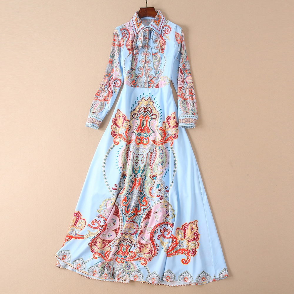 Red RoosaRosee New 2019 Designer Women Vintage Print Manual Beads Turn-down Collar Slim Long Sleeve Elegant Long Maxi Dress