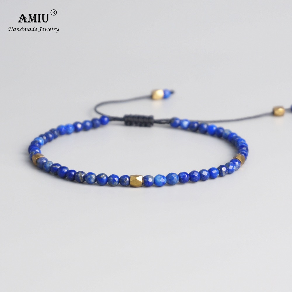 AMIU 3mm Natural Lapis Stone Beads Tibetan Stone Beads Stretch Bracelet For Men Women Yoga Chakra Crystal Bead Bracelets