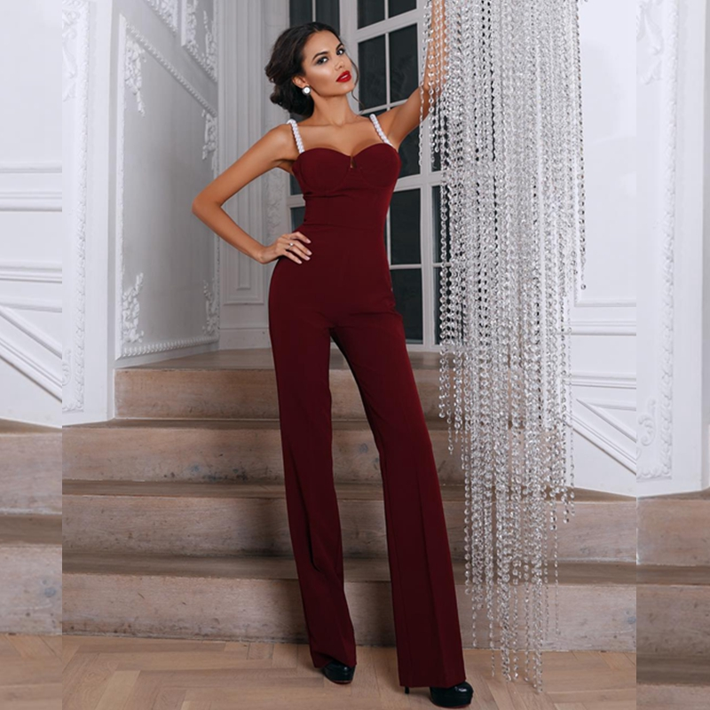 2019 New Summer Women Fashion Jumpsuits Elegant Wine Red Sexy Strapless Pearls Beading Jumpsuit Celebrity Party Club Bodysuits