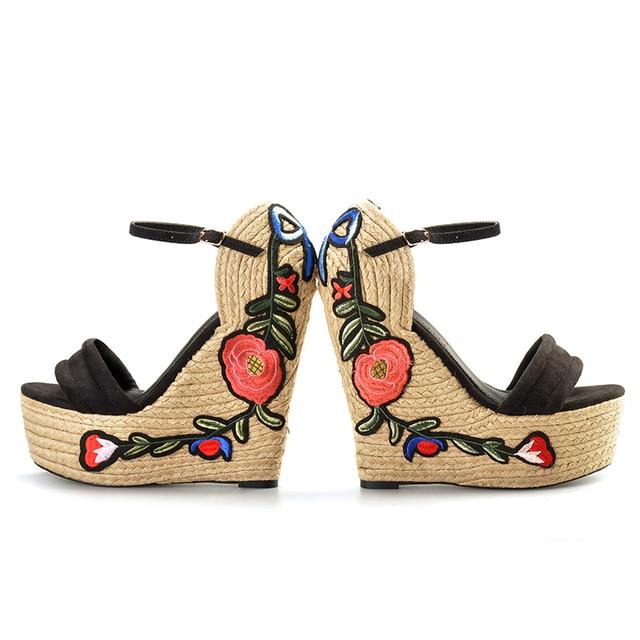 Pink Palms women summer Embroidered suede wedge espadrille shoes hibiscus flower applique supper high heel elegant sandals
