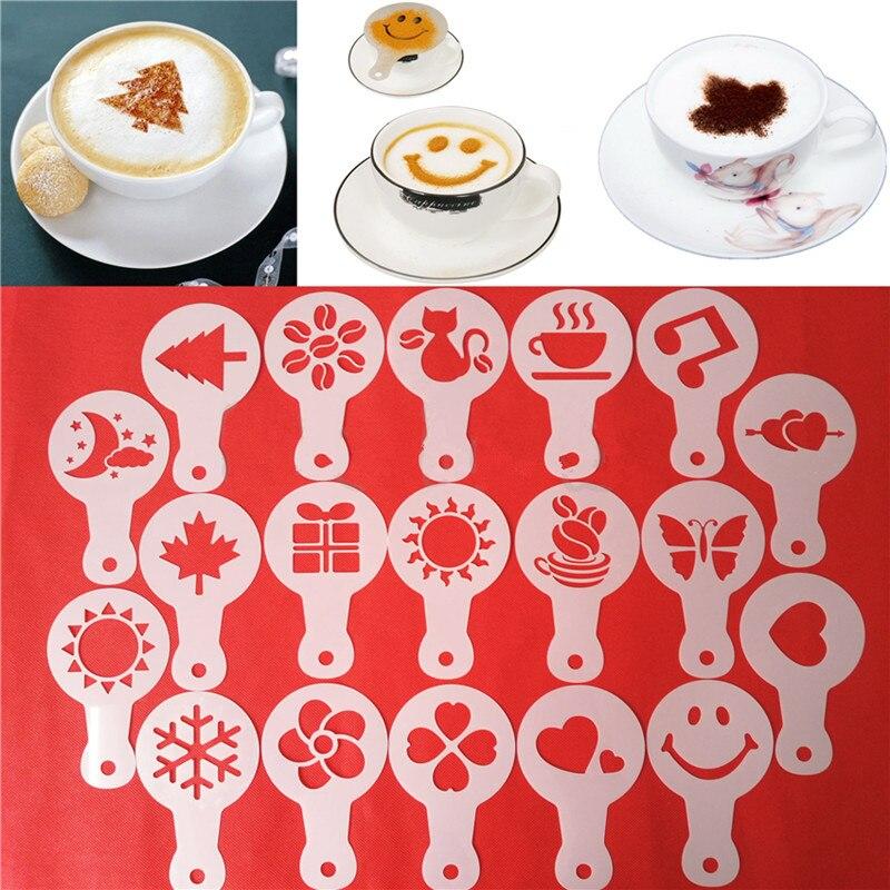 16X Kaffee DIY Kunst Stift Nadel Kaffee Latte Barista Vorlage Schablonen Form