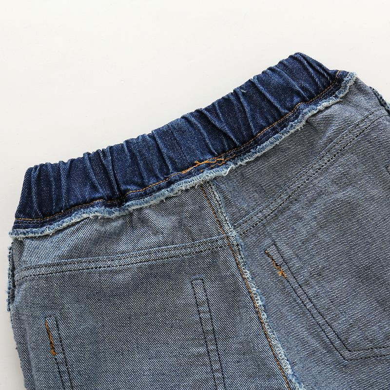 Hole Jeans For Boys Elastic Waist Kids Denim Trousers Kids Cowboy Harem Pants Solid Boy Jeans 2017 Spring Children Jeans 2-6 Y  (1)