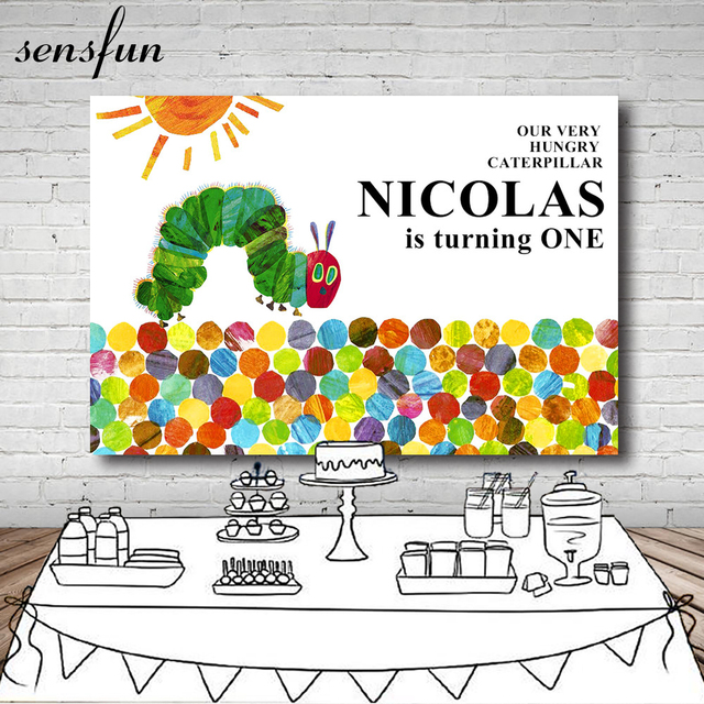 Our Very Hungry Caterpillar NAME Is Turning One Backdrop For Photo Studio Sun Children Newborn Birthday Party Backgrounds Vinyl