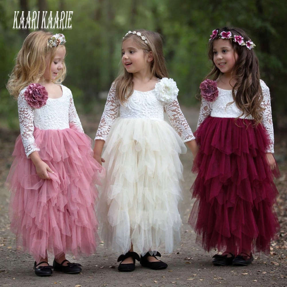 Fashion 2018   Flower     Girls     Dresses   for Wedding Party Kids Pageant   Dress   First Holy Communion   Dresses   for Little Baby Prom   Dress