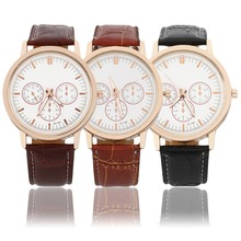 Women's Classic Bamboo Line Strap Watch PU Leather Quartz Large Dial Wrist Watch relogio