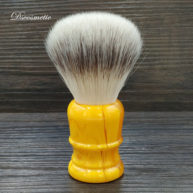 Dscosmetic 26mm  Soft Synthetic Hair Men's Shaving Brush Amber Resin Handle Traditional Wet Shaving Tool