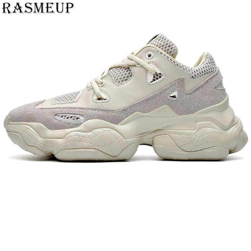 RASMEUP grande taille 46 véritable cuir Chunky baskets hommes femmes 2019 mode Street Style femmes plate-forme chaussures femme formateurs