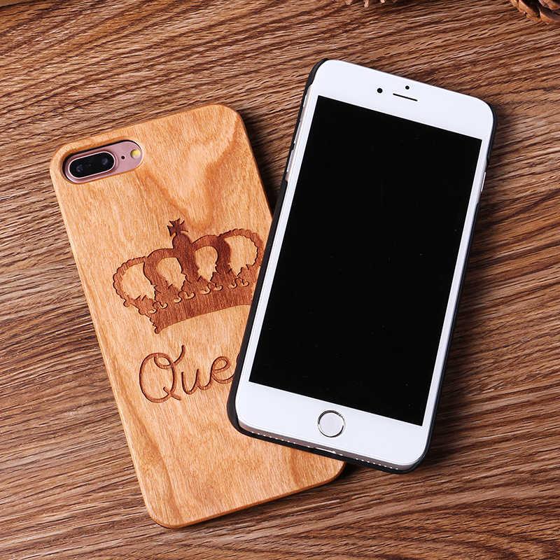 Para o iphone 6 6 s XS Max 7 7 Plus Coroa Da Rainha do Rei Do Mundo Mapa Orando Verdadeiro Caso De Telefone de Madeira para SAMSUNG Galaxy S6 S7 Borda S9