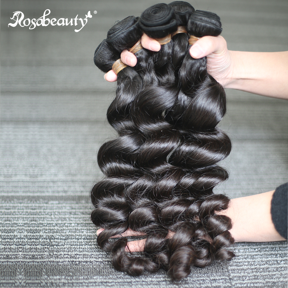 Rosa Beauty 28 30 Inch 10A Brazilian Human Hair Weave Loose Wave 1/3/4 Bundles Raw Virgin Hair Extensions 100% Unprocessed Hair