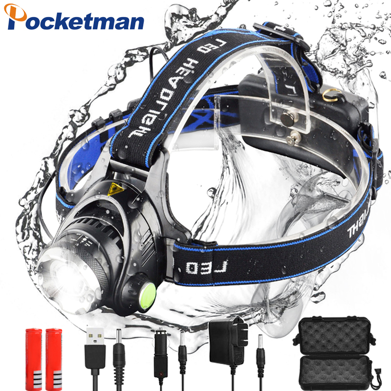 8000lumen Led Headlamp L2 T6 Zoomable Headlight Head Torch Flashlight Head lamp by 18650 battery for Fishing Hunting z35 in Headlamps from Lights Lighting