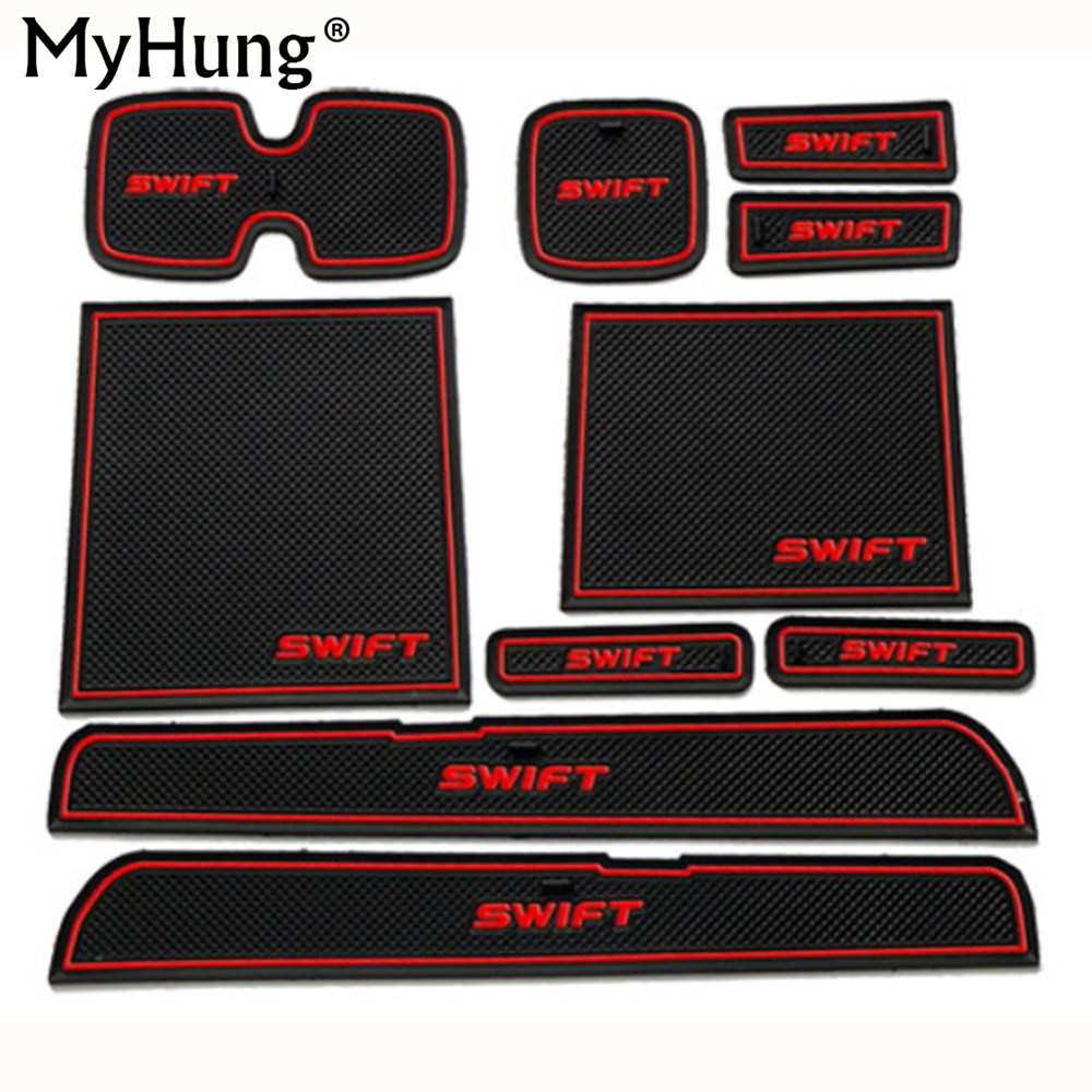 Newest Fit for Suzuki Swift 2005-2014 Anti Slip Car Door Slot Rubber Latex Groove Mat Interior Cup Cushion Car-styling 10pcs for mazda cx 5 cx 5 cx5 2017 2018 gate slot pad non slip cup mats anti slip door groove mat interior car styling accessories lhd