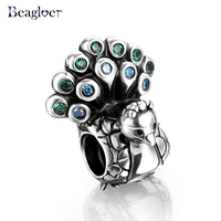 Bagloer 925 Sterling Silver Peacock Charm Beads Fit Handmade Bracelet Pendants For Women Green Crystal DIY Jewelry PSMB0042
