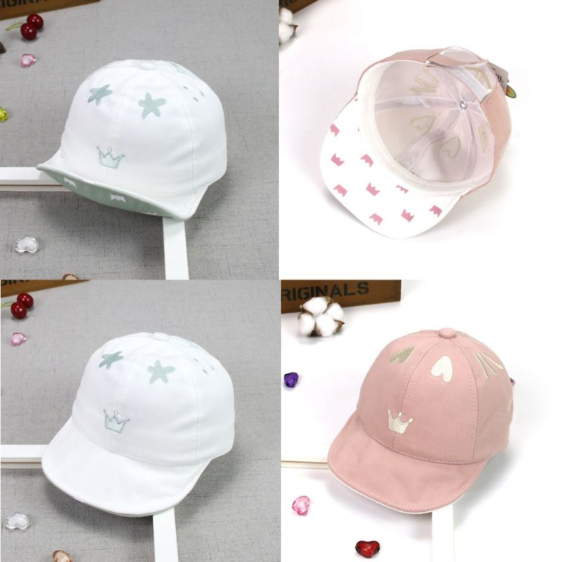 Mother & Kids Have An Inquiring Mind Cute Heart Crown Baby Girl Hats Cotton Baby Accessories Newborn Toddler Baseball Cap Adjustable Summer New Baby Hats Neither Too Hard Nor Too Soft