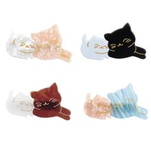 Japanese Cute Mom Kids Meow Cat Duckbill Hair Clip Sweet Girls Fancy Acetic Acid Contrast Color Hairpins Side Bangs Barrettes
