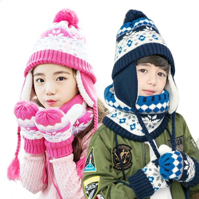 Children hats scarf gloves three - piece warm autumn winter boys girls baby  caps collars sets tide kids beanies wear suits free b80a008f30ac