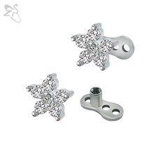 2d0d687b8d26 Moda flor ancla Diamantes con piedras falsas acero inoxidable perforado  Tops superficie piel piercings dérmica ocultar en Top se.