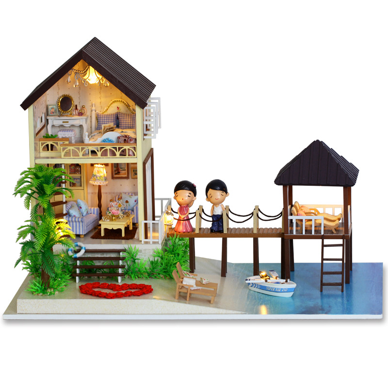 New Large DIY Maldives Dollhouse Wooden Miniature Maldives with 3D LED Light Furniture Craft Handmade Home Decoration Toy 1