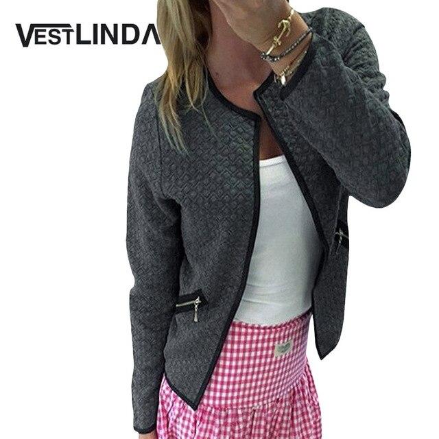 VESTLINDA Women Jacket Cardigan O Neck Long Sleeve Zippers Design Slim Jacket Elegant Jackets Ladies Solid Cotton Short Coat