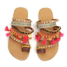 Sandals Women Flats Summer Shoes Ladies Women Bohemian Ethnic Rhinestone Flat Sandals Casual Shoes Slipper Plus Size bohemian sandals for women wedge shoes crystal decoration grey army green shoes ladies cute casual shoes rhinestone sandals
