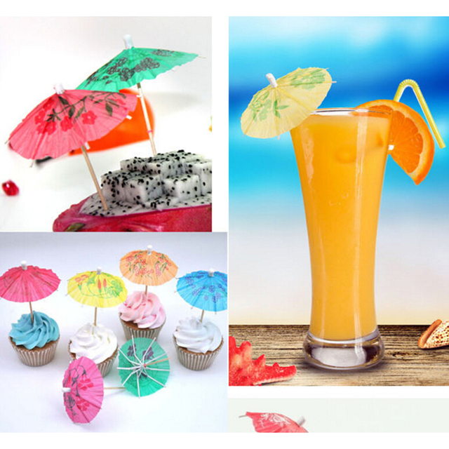 Paperboard Cocktail Parasols Umbrellas Luau Sticks POP Party Wedding Paper Umbrella Decoration Favor