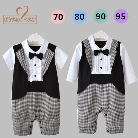 Nyan Cat Baby boy summer short long sleeves gentlemen bow tie tuxedo romper infant toddler black plaid jumpsuit wedding clothes ремни lee ремень gentlemen