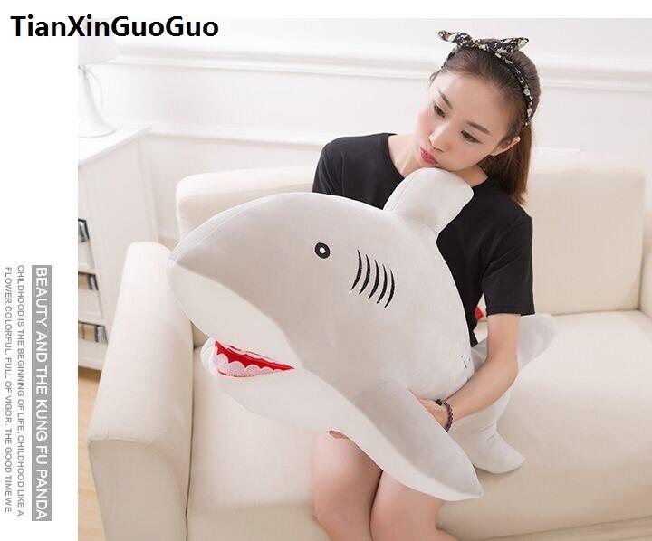 Grand 100 cm dessin animé gris requin peluche jouet très doux poupée jeter oreiller saint valentin cadeau w2542