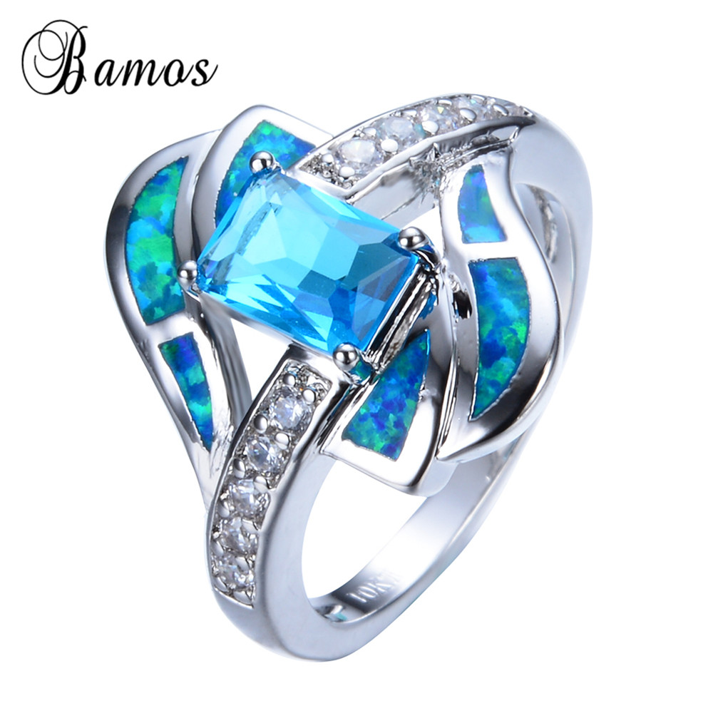 Blue jewelry High Quality Opal Ring 14KT White Gold filled 925 sterling silver jewelry wedding rings for women RP0013