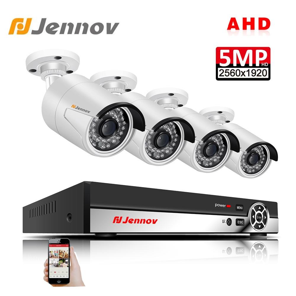Jennov 4CH 5MP DVR AHD Camera CCTV Set Outdoor Camera Security System IP Video Surveillance Kit P2P HD Night Vision H.265 IR-Cut