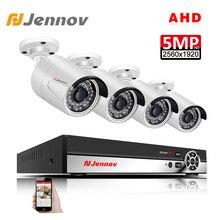 Jennov 4CH 5MP видеорегистратор AHD Камера набор для видеонаблюдения на открытом воздухе Камера безопасности Системы IP Видеонаблюдение комплект P2P HD Ночное видение H.265, отсекающий ИК-излучение