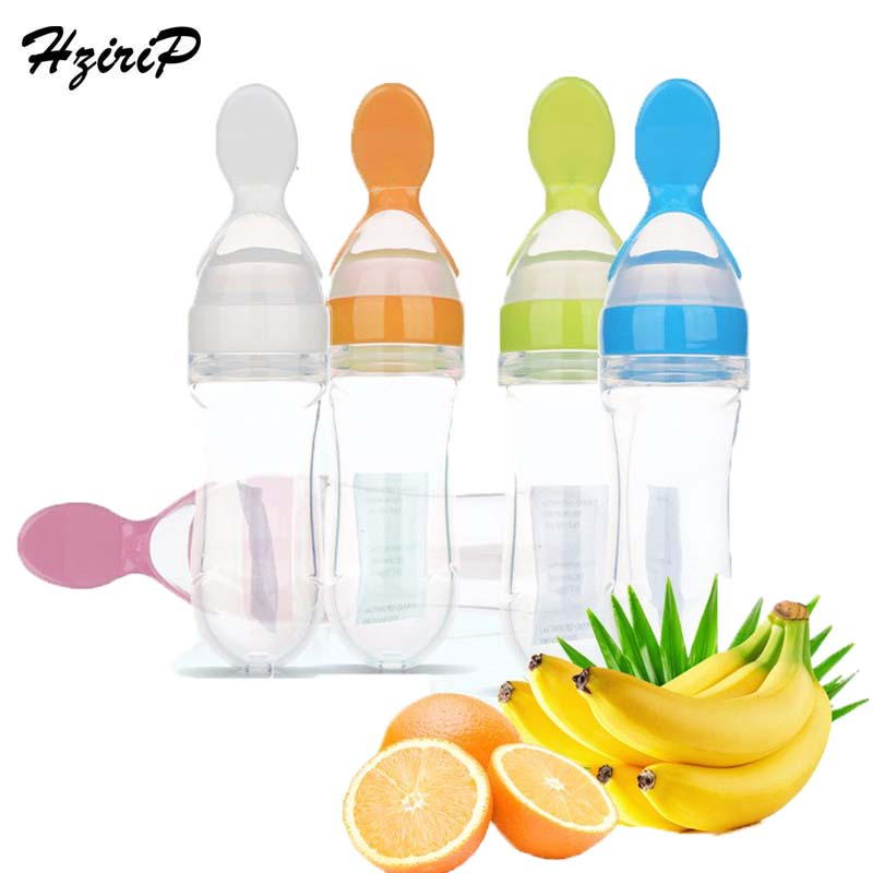 90ml Bayi kanak-kanak Makanan Sereal Botol Memakan Spoon Makanan Bayi Cecair PP silikon Spoon Squeeze Feeder Supplies 5 Warna