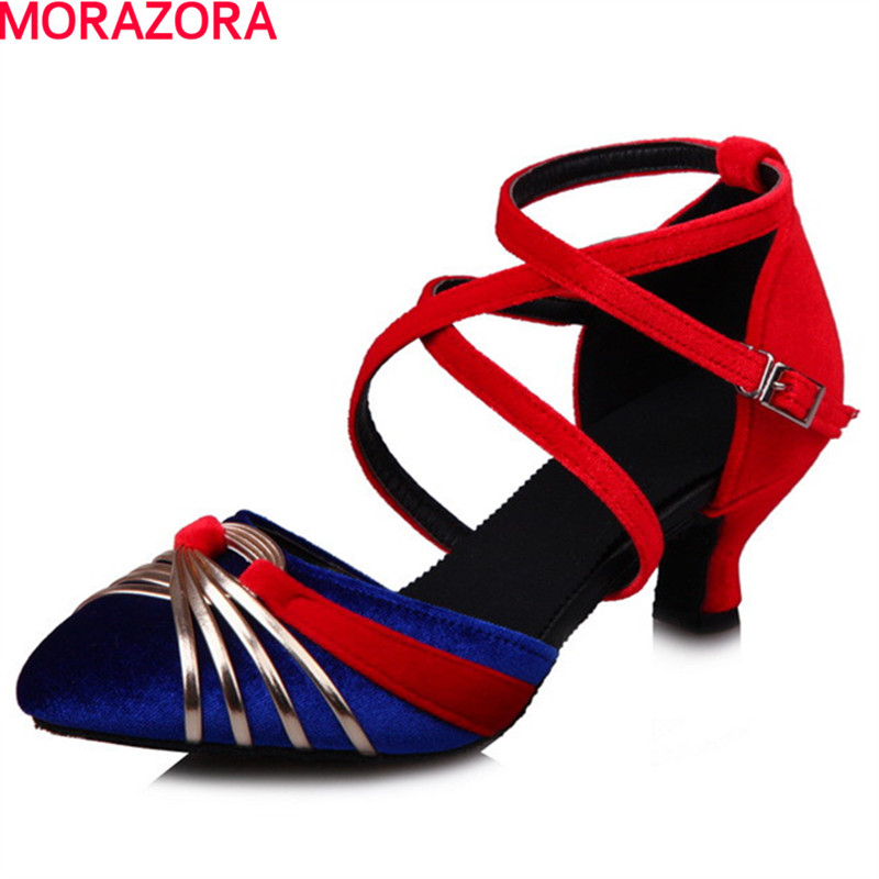 MORAZORA spring autumn newest fashion buckle women pumps flock shoes high heeled party wedding shoes big