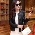 Autumn Leather wear  women's stand collar short design leather jacket women sheepskin outerwear Roupas de couro genuino