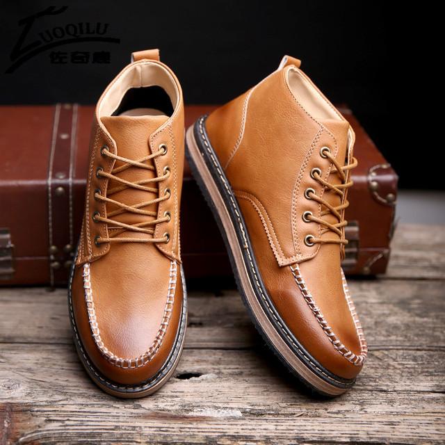 Impermeáveis Botas de Inverno Homens Tornozelo Botas Martin Sapatos de Couro PU Homens Outono Botas Calçados de Inverno Dos Homens Do Vintage Preto Marrom Caqui