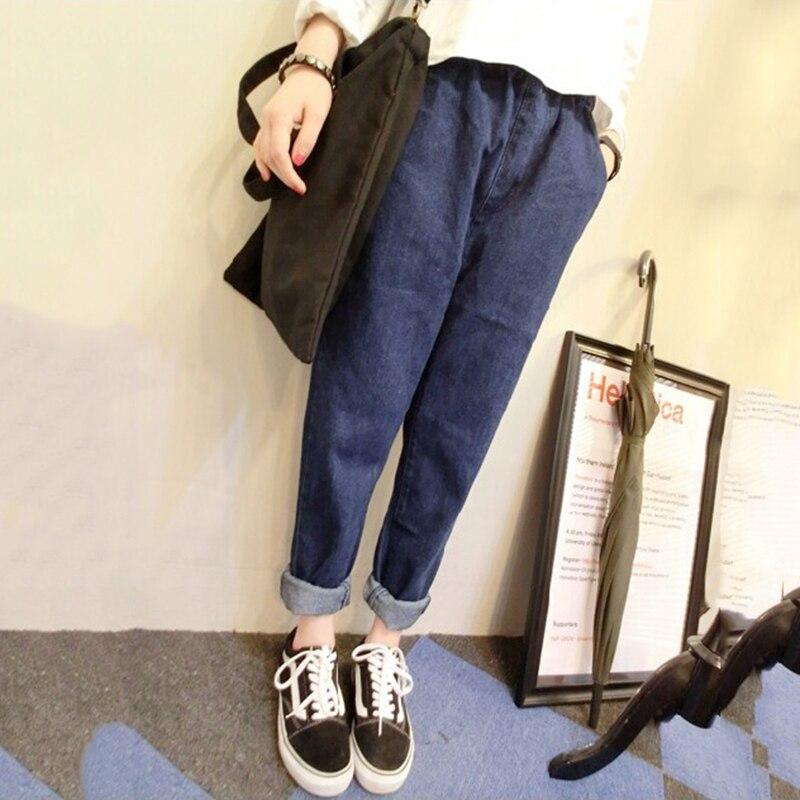 все цены на  2016 New Slim Mid Rise Vintage Jeans Harem Pants Women Brand Full Length Washed Elastic Waist Skinny Solid Female Denim Trousers  в интернете