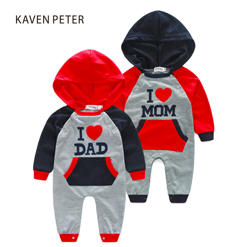 2017 Autumn Infant clothing baby girl hooded Romper newborn baby boy clothes long sleeve cotton letter embroidery for clothes baby rompers long sleeve baby boy clothing children jumpsuits autumn cotton infant clothing newborn baby girl clothes