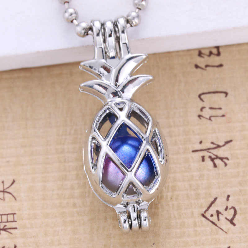 6pcs Silver pineapple Pearl Cage Jewelry Making Bead Cage Pendant Essential Oil Diffuser Locket For Oyster Pearl Fun gifts