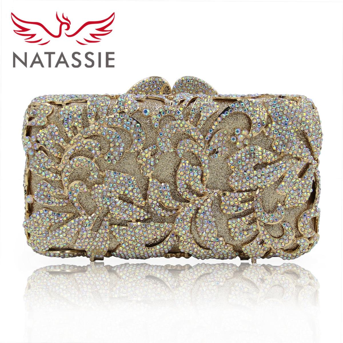 ФОТО NATASSIE Women Evening Bag New Spring Flower Crystal Clutch Female Day Clutches Ladies Gold Diamond Wedding Purses