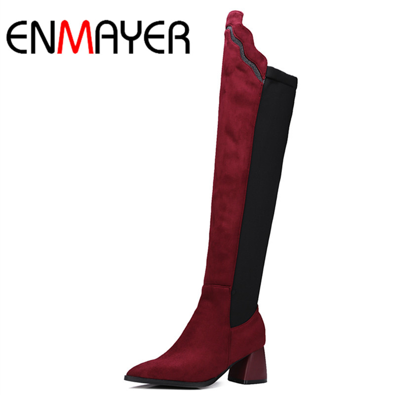ENMAYER New Arrivals Shoes Woman High Heels Pointed Toe Slip-On Large Size 34-43 Over-the-knee Boots Platform Women Boots Shoes enmayer low heels wedges shoes woman slip on knee high boots for women round toe winter warm boots tassels charms platform shoes