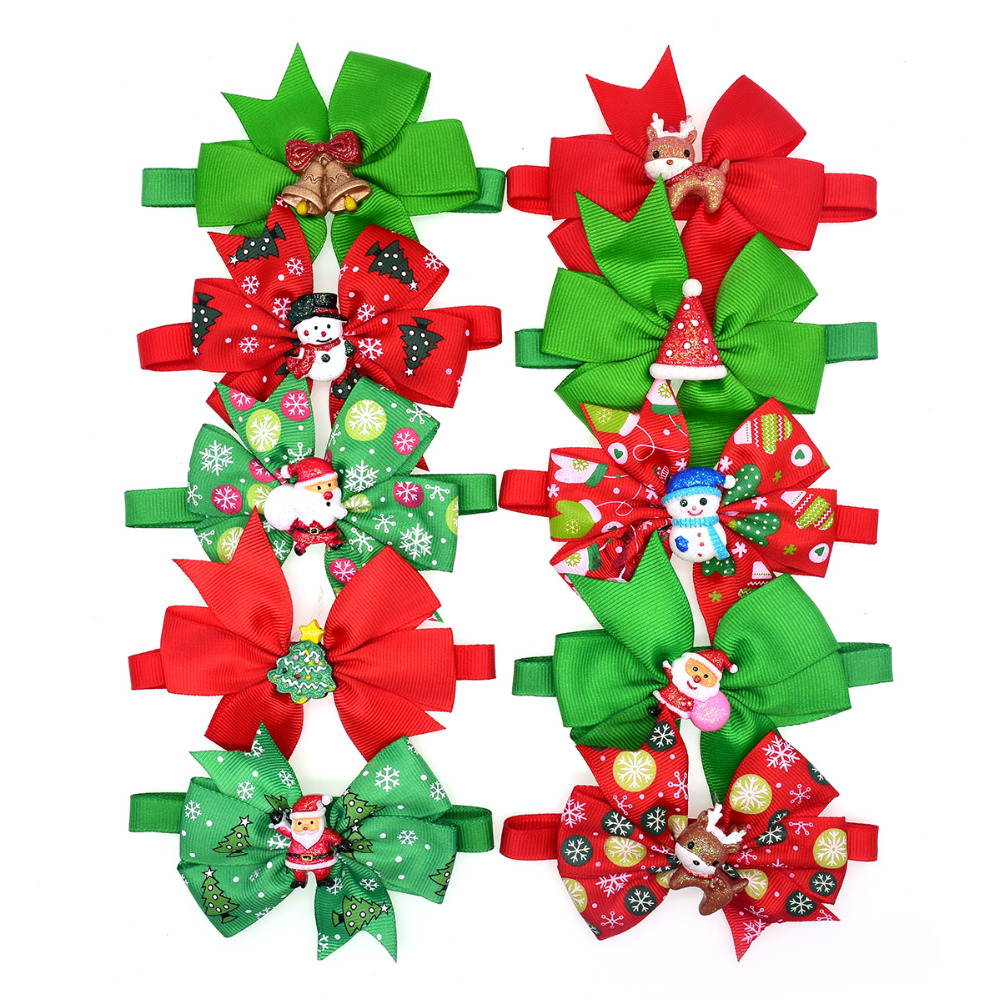 60pcs Christmas Pet Dog Bowties Snowman Old Man Accessories Dog Wedding Bow Tie Neckties Cat Pet Holiday Grooming Supplies