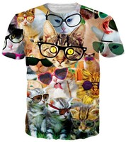 Fashion Summer Tops Women Men 3D Graphic print Cats Pullover Tees Plus Size
