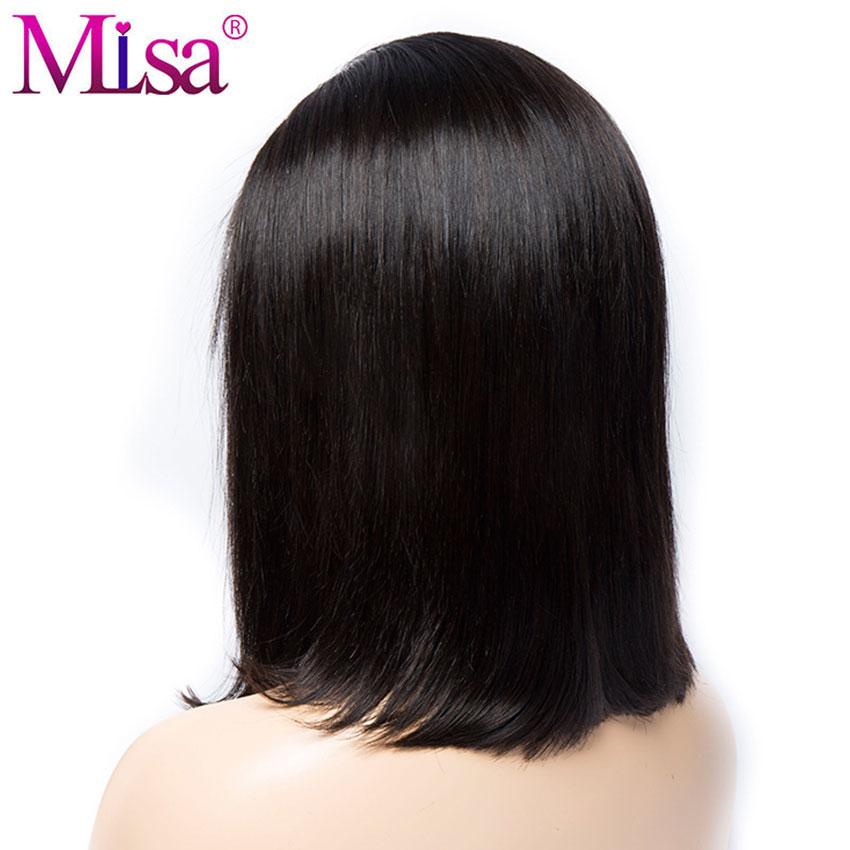 Mi Lisa Bob Lace Front Parycker Humain Hair Remy Brasilian Hair Paryk - Mänskligt hår (svart) - Foto 3