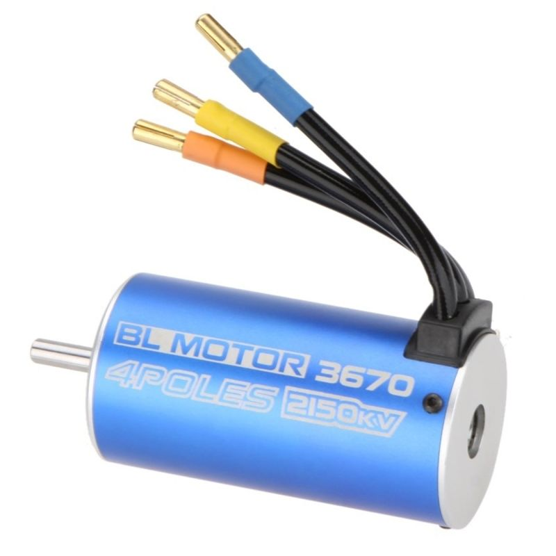 HI-TECH Blue 3670 4 Poles 2150KV Brushless Motor For RC 1/10 Off-road Monst графитовый лист hi tech carbon 1 210 183 4 plate 2101834