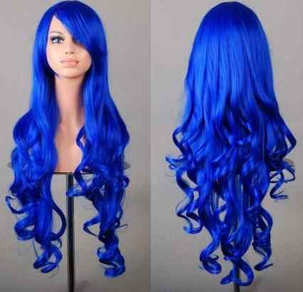 Fei-Show синтетический термостойкий синий карнавал длинные вьющиеся женские волосы женский салон Хэллоуин костюм Cos-Play карнавальный парик