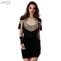2016 Winter Women Cocktail Bodycon Dress Gold Black Gorgeous Beading Tassels Sequins Long Sleeve Mesh Celebrity