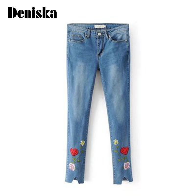 2017 New Regular Woman Jeans With Embroidery Crane Slim Hole Bleached Denim Pencil Pants Women 2017