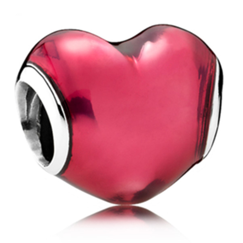 New Silver Plated Bead Charms Red Enamel In My Love Heart Beads Fit Women Pandora  Bracelet
