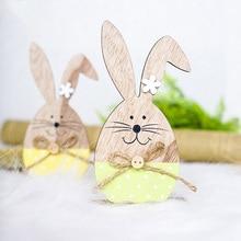 Пасхальные украшения Деревянный Пасхальный кролик с пасхальным яйцом лента Стенд украшение Новое поступление Diy орнамент