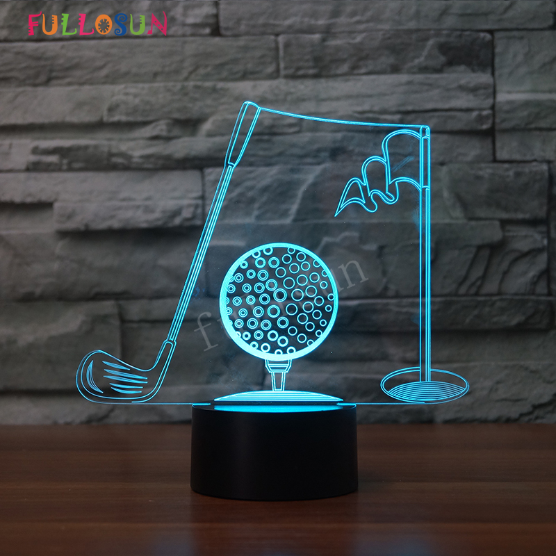 Golf LED USB Lamp Christmas Gift 3D Night Lamp 7 Colors Changing LED Touch Lights as Home Decoration