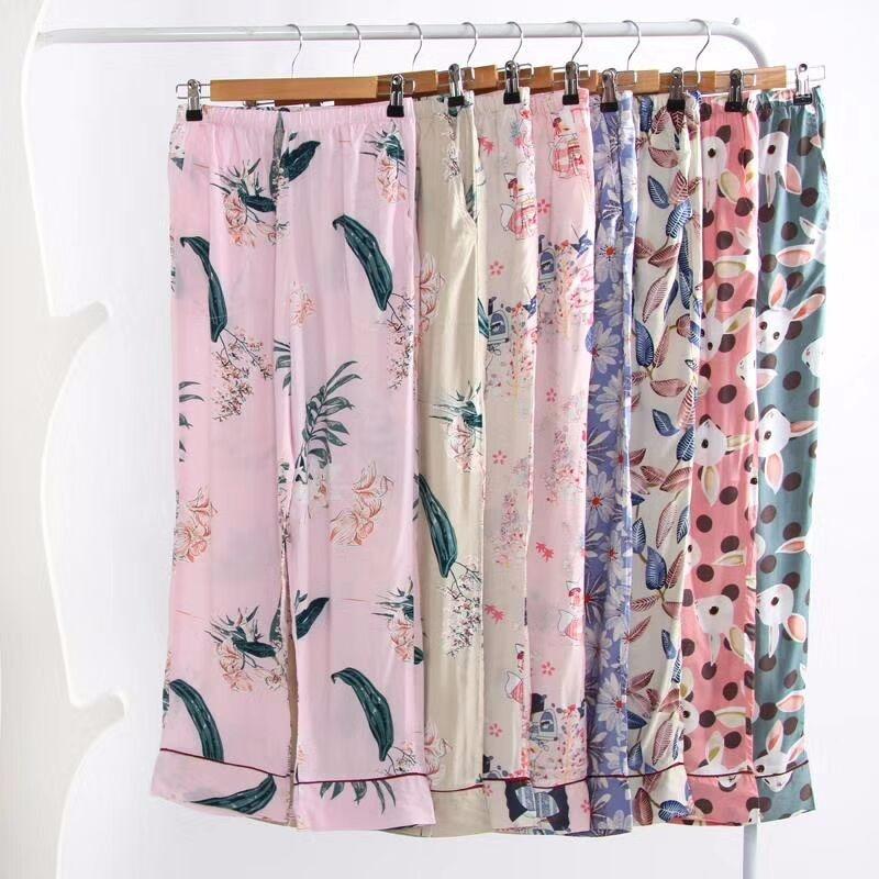 Women Pajama Bottoms Viscose Cotton Sleep Trousers for Women Home Pants Summer Sleepwear Printed Long Pants Loungwear
